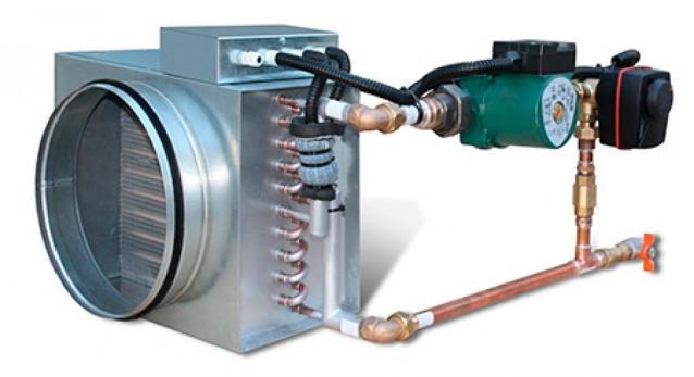 Схема смесительного узла для водяного калорифера